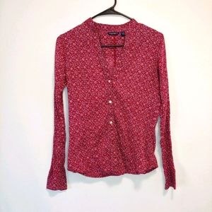 American Eagle Pink Long Sleeve Button Down Shirt